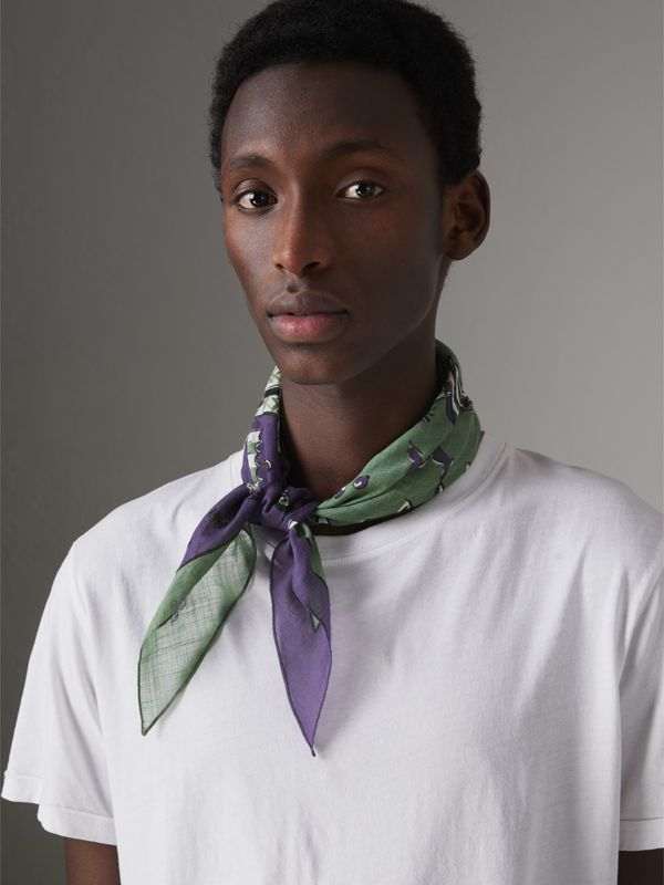 Picnic Print Cotton Scarf in Regency Purple | Burberry United Kingdom - cell image 3