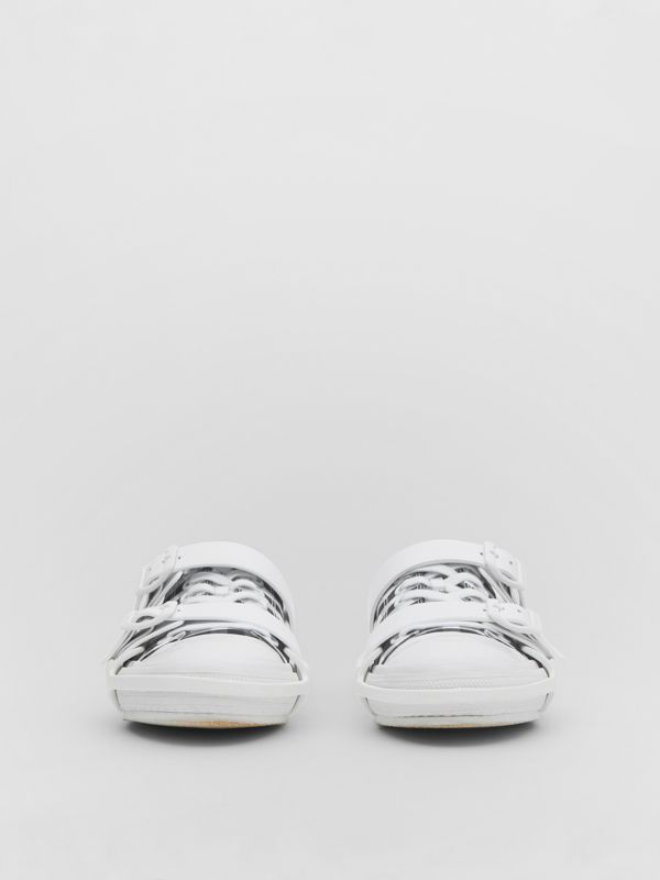 Gingham Cotton and Leather Webb Sneakers in White/black | Burberry United Kingdom - cell image 2
