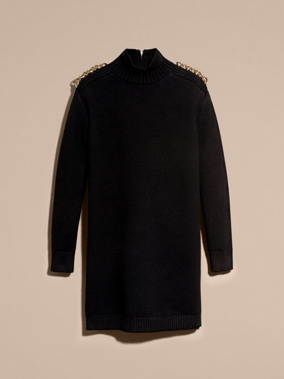 Black Chain Detail Wool Cashmere High-neck Dress - cell image 3