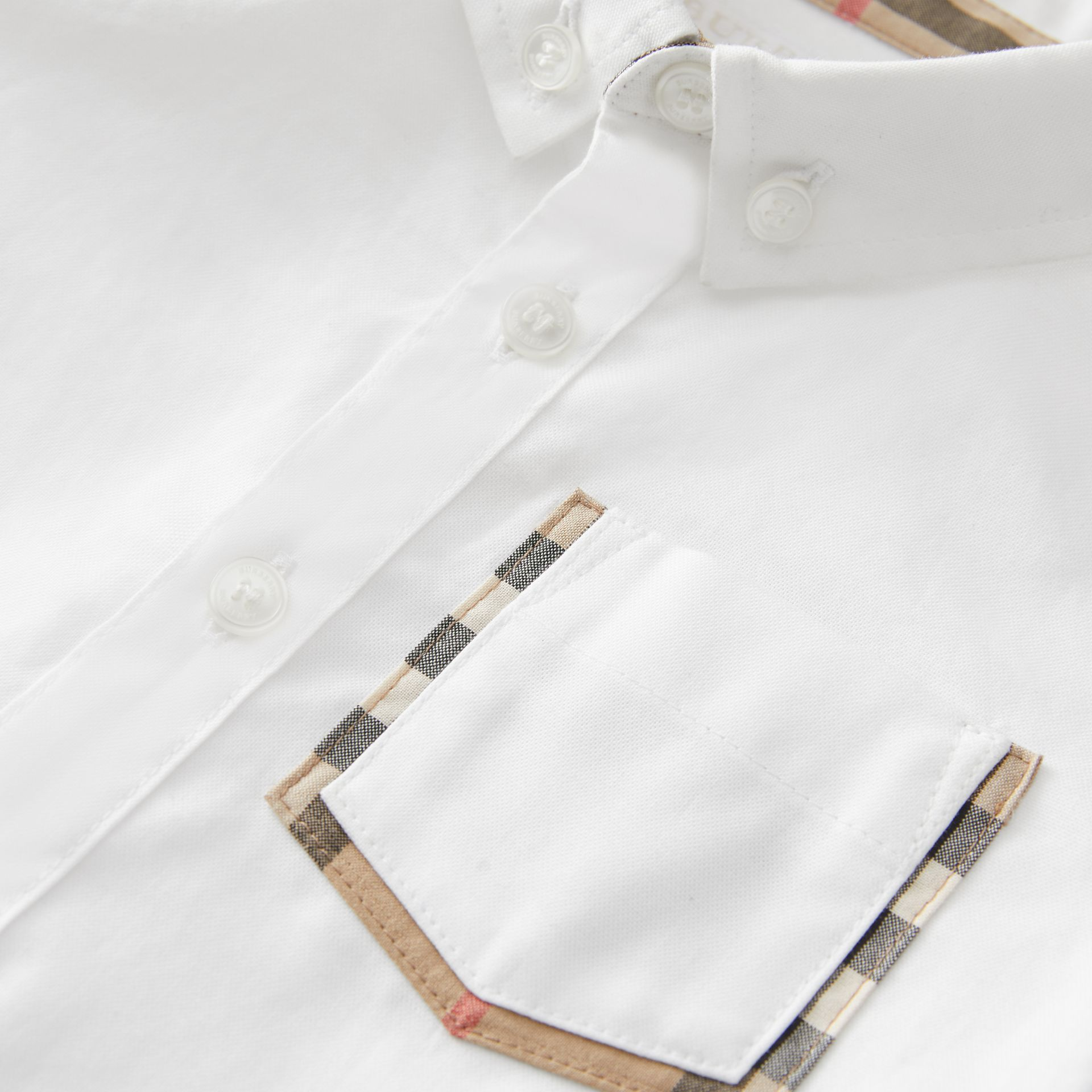 Vintage Check Detail Cotton Oxford Shirt in White - Children | Burberry United Kingdom - gallery image 1