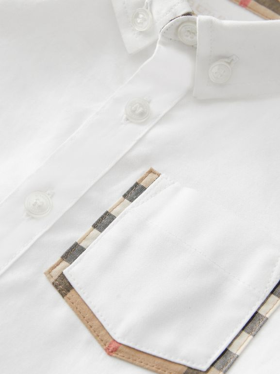 Vintage Check Detail Cotton Oxford Shirt in White - Children | Burberry United Kingdom - cell image 1