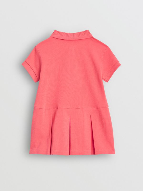 EKD Logo Cotton Polo Dress in Bright Pink - Children | Burberry - cell image 3