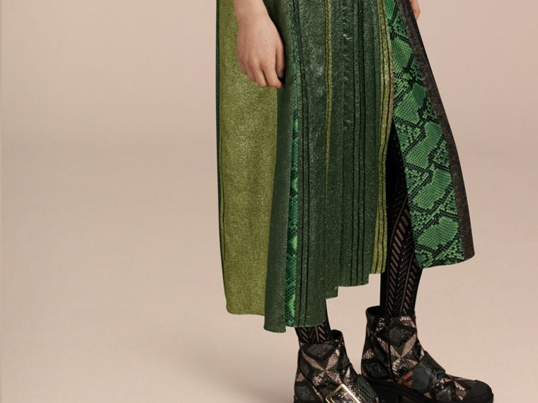 Sage Long Lamé and Python Print Dress Sage - cell image 4
