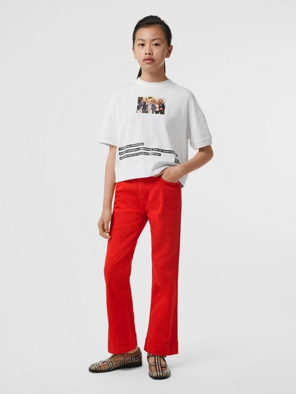 Camiseta de algodão com estampa de montagem (Branco)