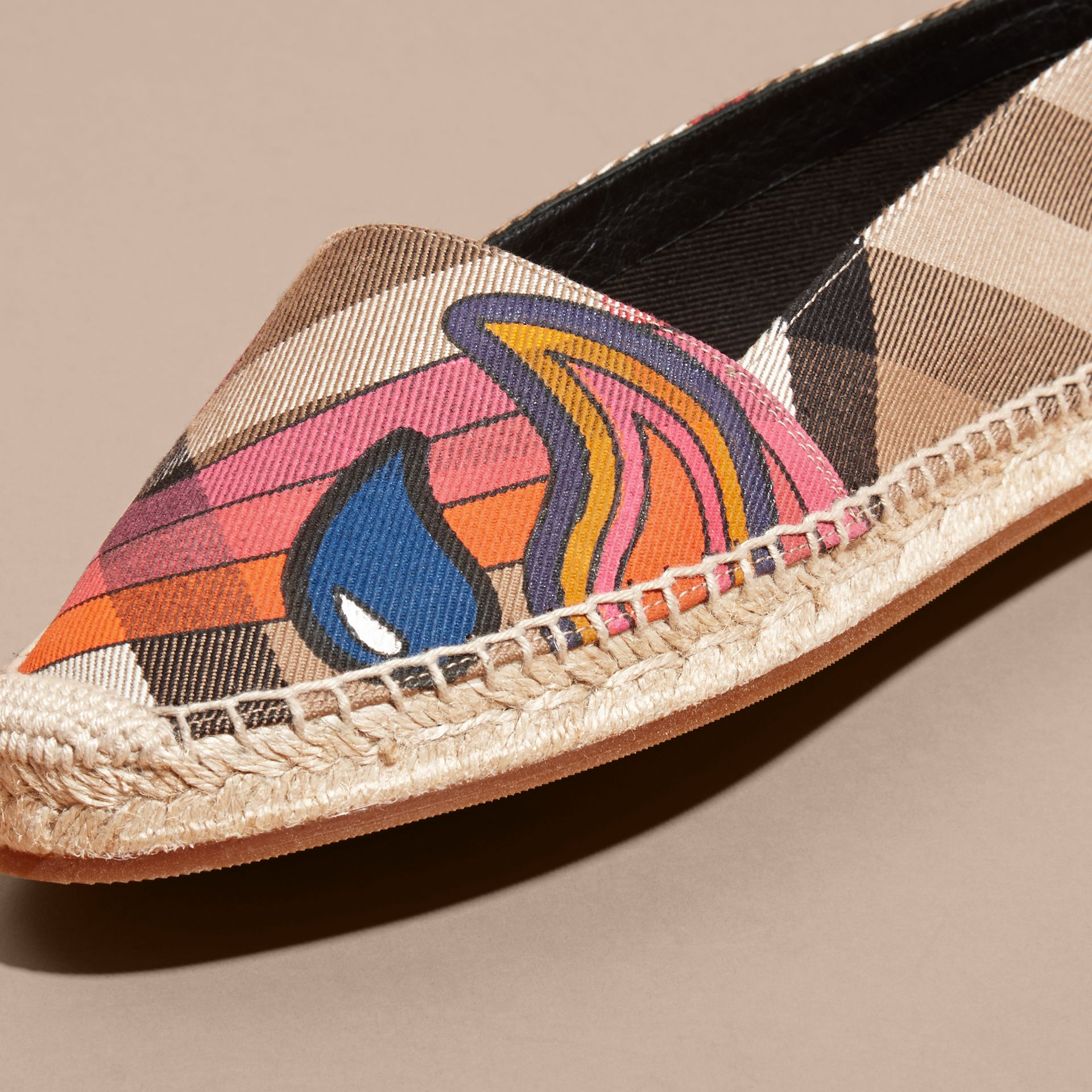 Rainbow Graphic Print Canvas and Suede Check Espadrilles - gallery image 2
