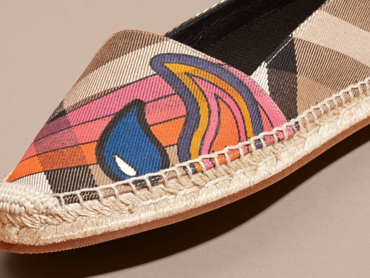 Rainbow Graphic Print Canvas and Suede Check Espadrilles - cell image 1