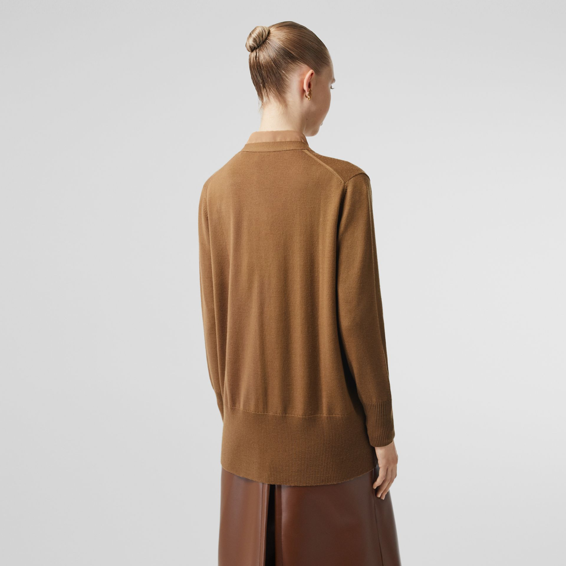 Lambskin Pocket Merino Wool Cardigan in Warm Walnut - Women | Burberry - gallery image 1