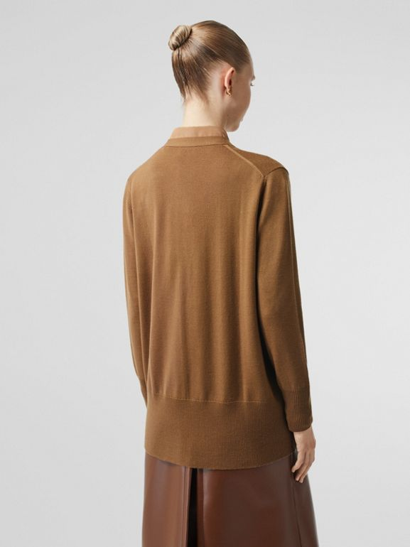 Lambskin Pocket Merino Wool Cardigan in Warm Walnut - Women | Burberry - cell image 1