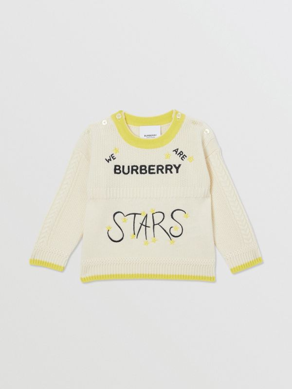 Star Motif Wool Cashmere Three-piece Baby Gift Set in Ivory - Children | Burberry - cell image 2