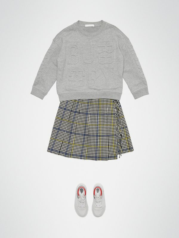 Fringe Detail Houndstooth Check Wool Kilt in Parchment | Burberry Singapore - cell image 2