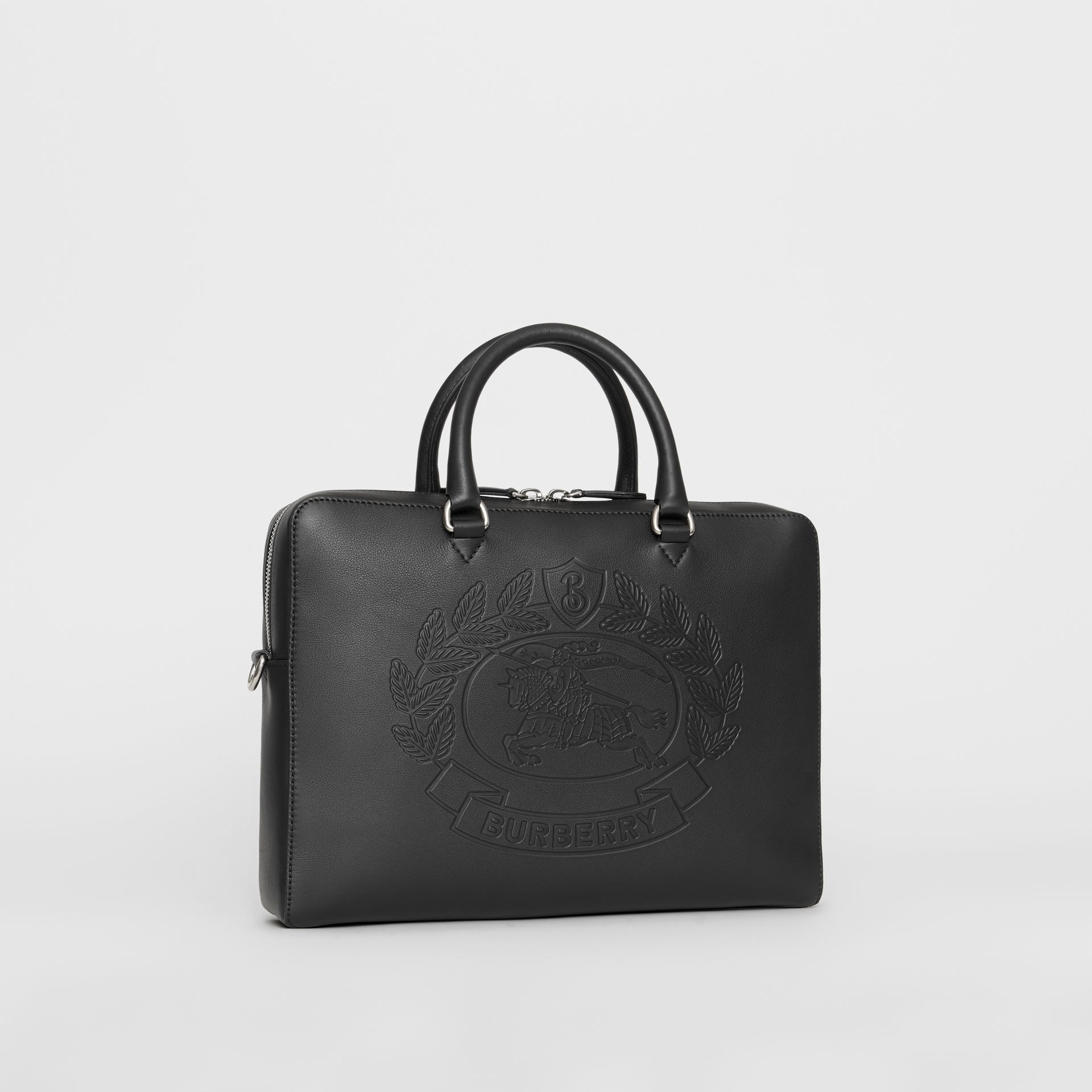 Embossed Crest Leather Briefcase in Black - Men | Burberry Australia - gallery image 4