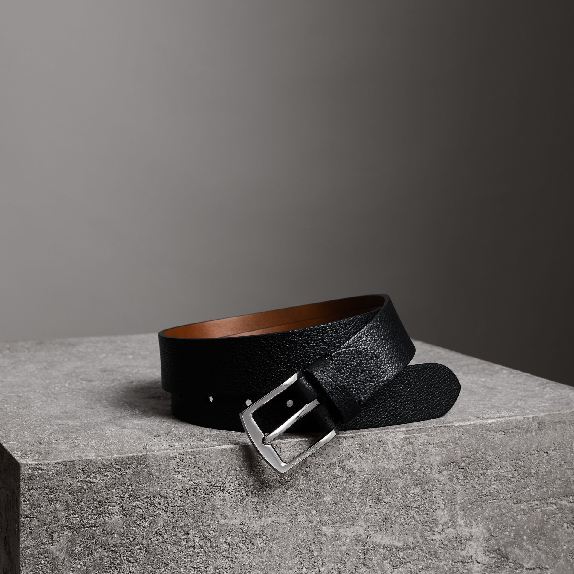 Grainy Leather Belt in Black - Men | Burberry United Kingdom - gallery image 0