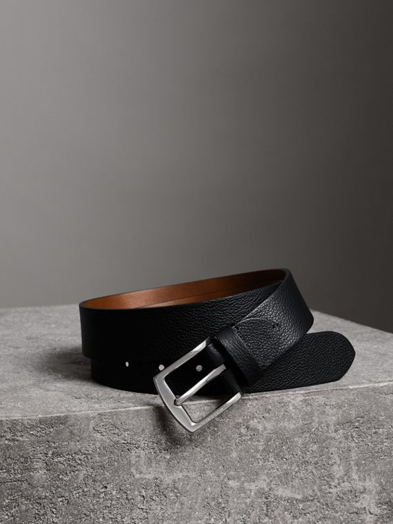 Grainy Leather Belt in Black
