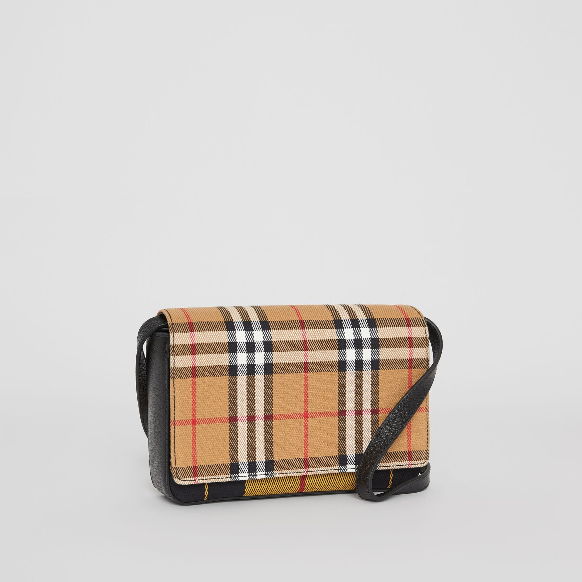 Vintage Check and Leather Wallet with Detachable Strap in Antique Yellow/black - Women | Burberry Australia - gallery image 6