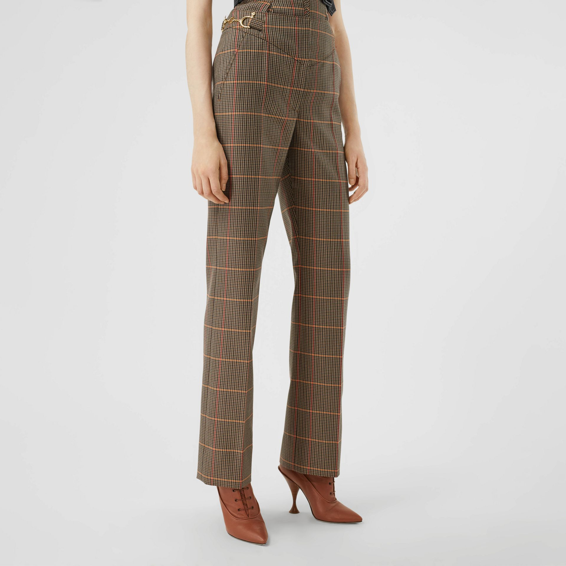Houndstooth Check Wool Blend Tailored Trousers in Dark Brown - Women | Burberry - gallery image 5