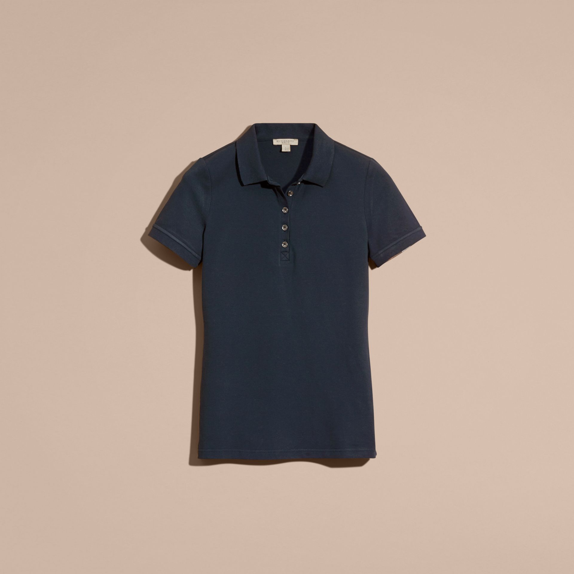 Check Trim Stretch Cotton Piqué Polo Shirt Navy - gallery image 4