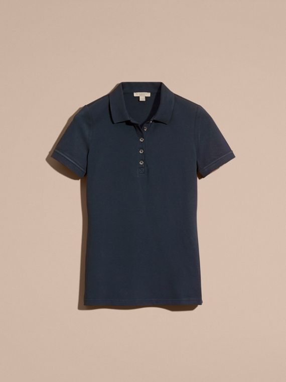 Check Trim Stretch Cotton Piqué Polo Shirt in Navy - cell image 3