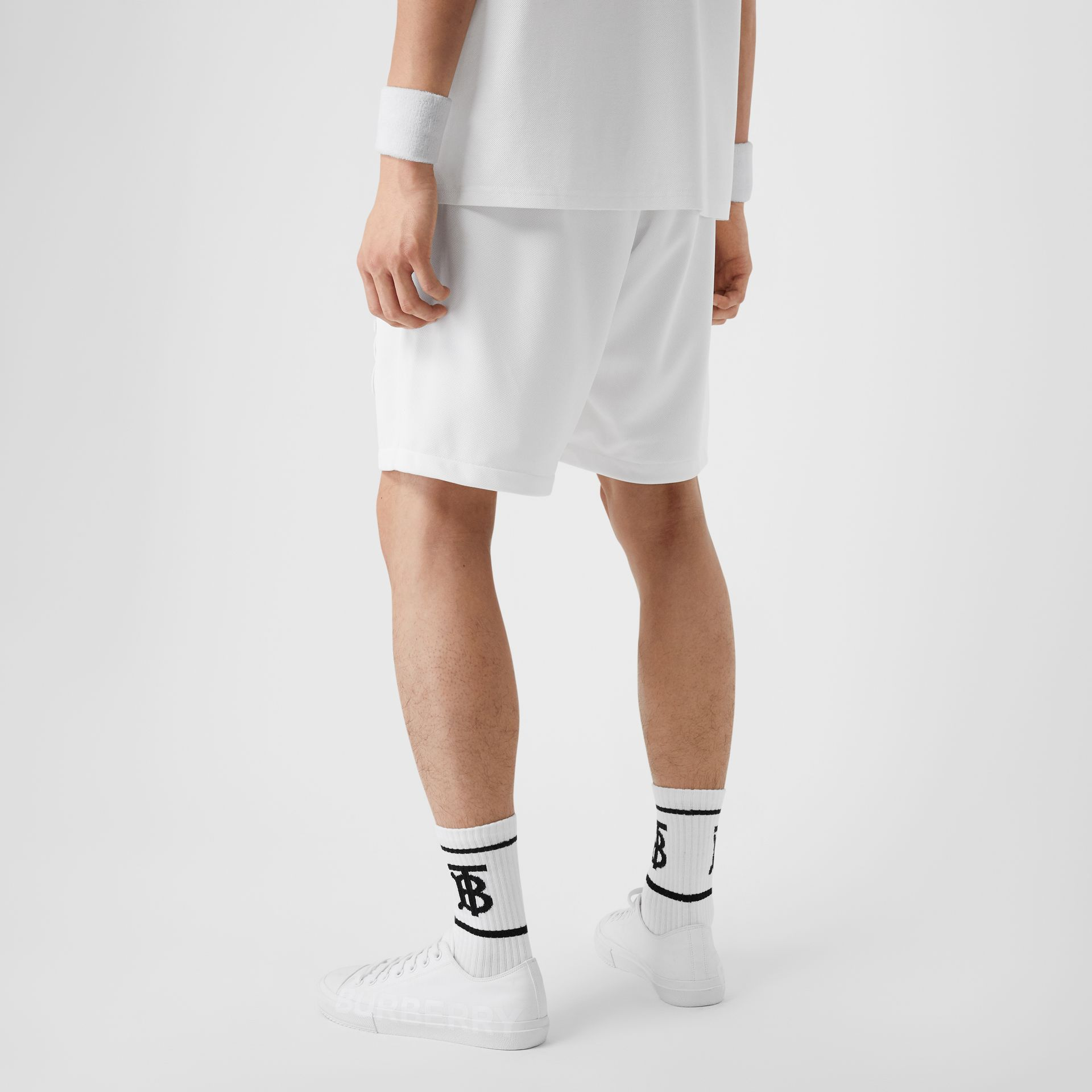 Monogram Motif Jersey Tennis Shorts in White - Men | Burberry - gallery image 2