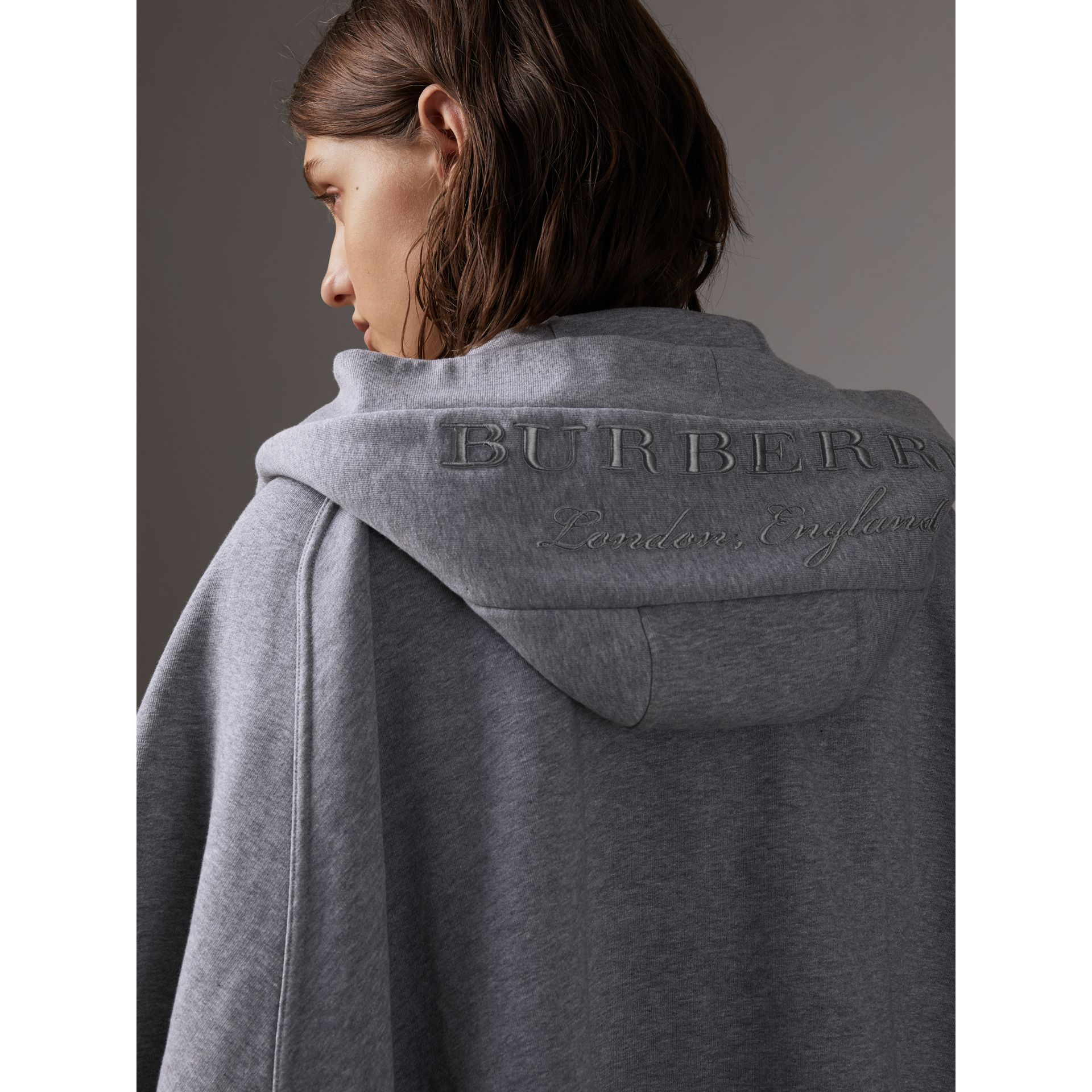 Embroidered Jersey Hooded Cape in Pale Grey Melange | Burberry Canada - gallery image 1