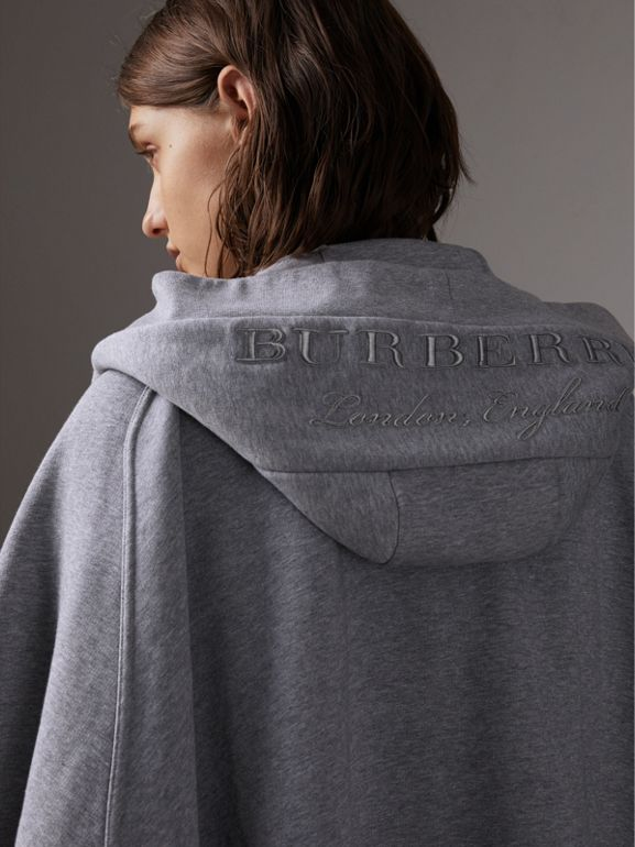 Embroidered Jersey Hooded Cape in Pale Grey Melange | Burberry United Kingdom - cell image 1