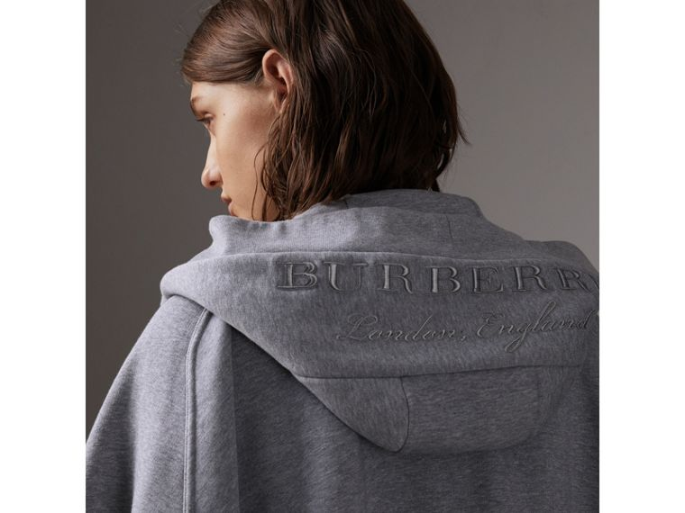 Embroidered Jersey Hooded Cape in Pale Grey Melange | Burberry Hong Kong - cell image 1