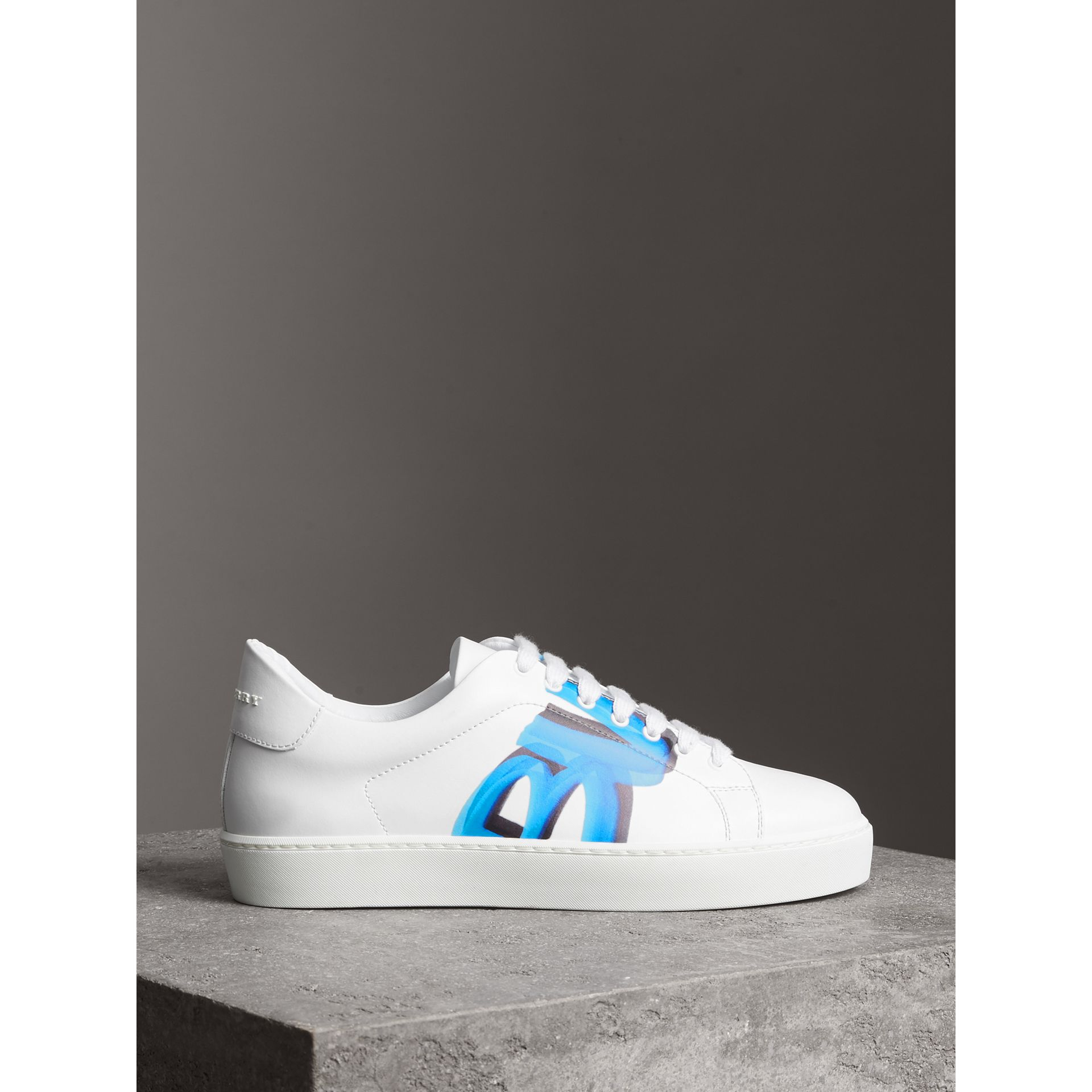 Graffiti Print Leather Sneakers in Bright Sky Blue - Women | Burberry Singapore - gallery image 4