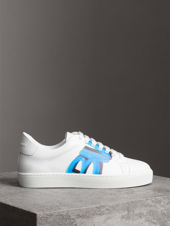 Graffiti Print Leather Sneakers in Bright Sky Blue