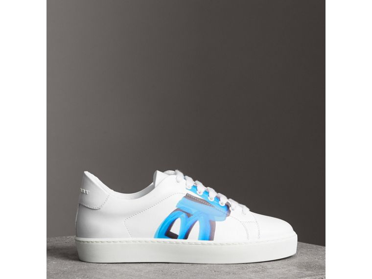 Graffiti Print Leather Sneakers in Bright Sky Blue - Women | Burberry - cell image 4