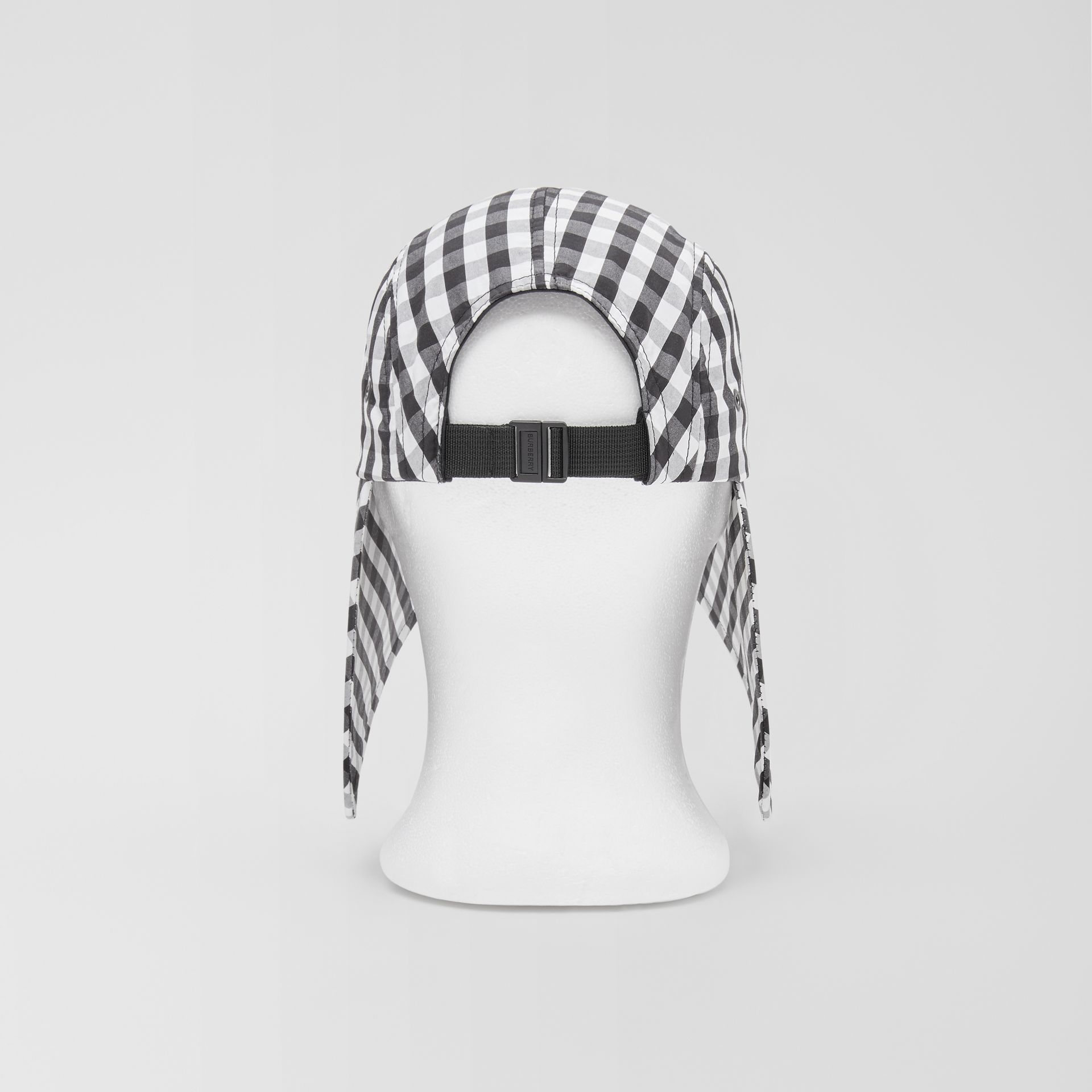 Logo Appliqué Gingham Cotton Bonnet Cap in Black/white | Burberry - gallery image 8