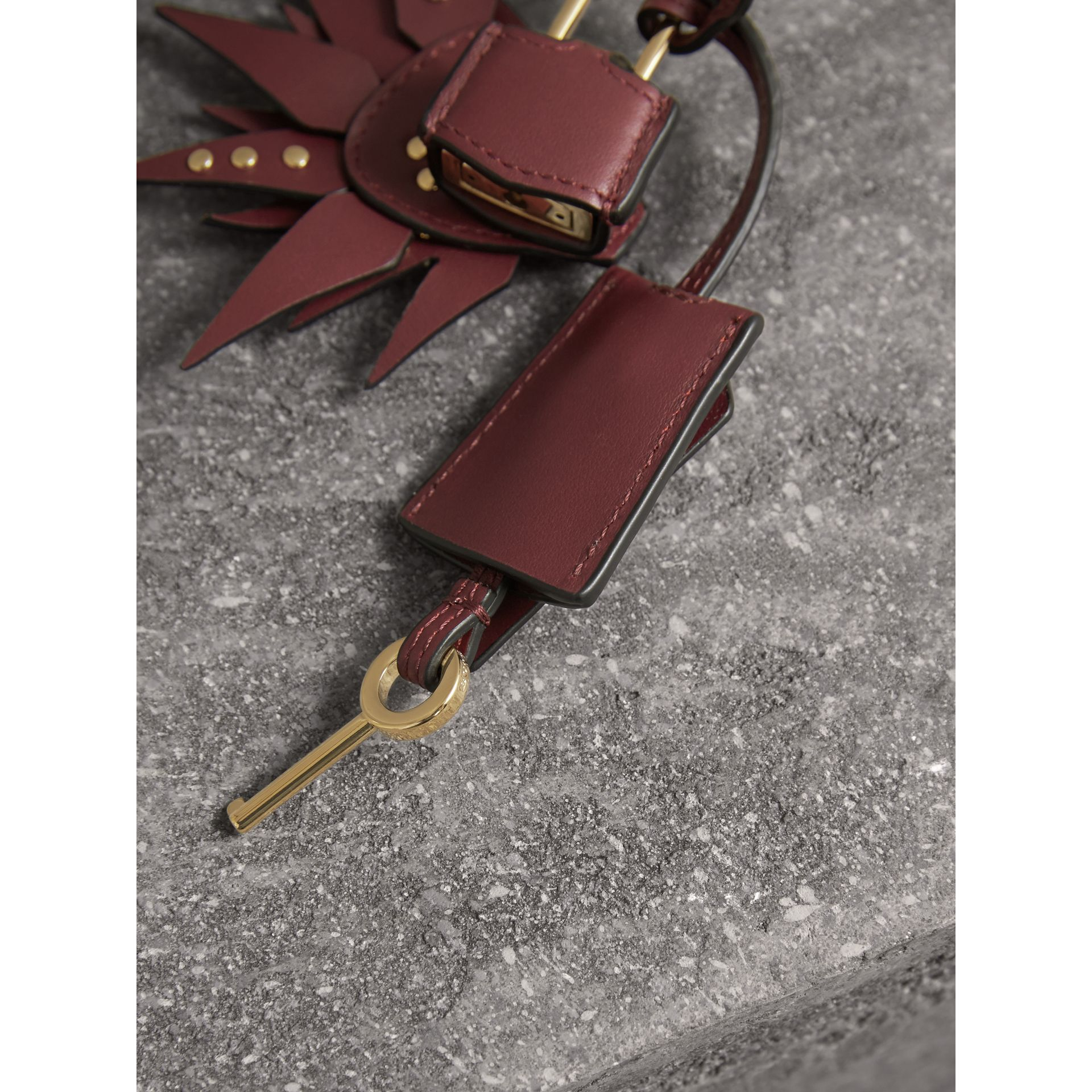 Beasts Leather Key Charm and Padlock in Steel Blue - Women | Burberry - gallery image 3