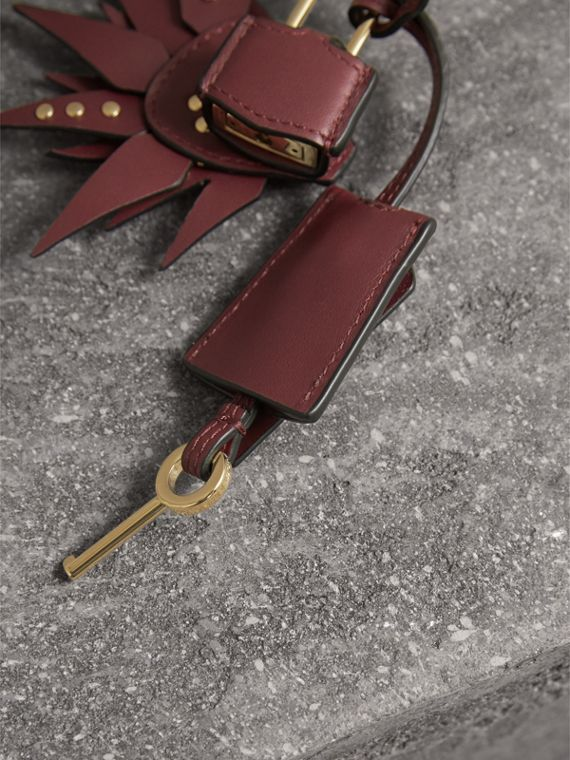 Beasts Leather Key Charm and Padlock in Steel Blue - Women | Burberry - cell image 2