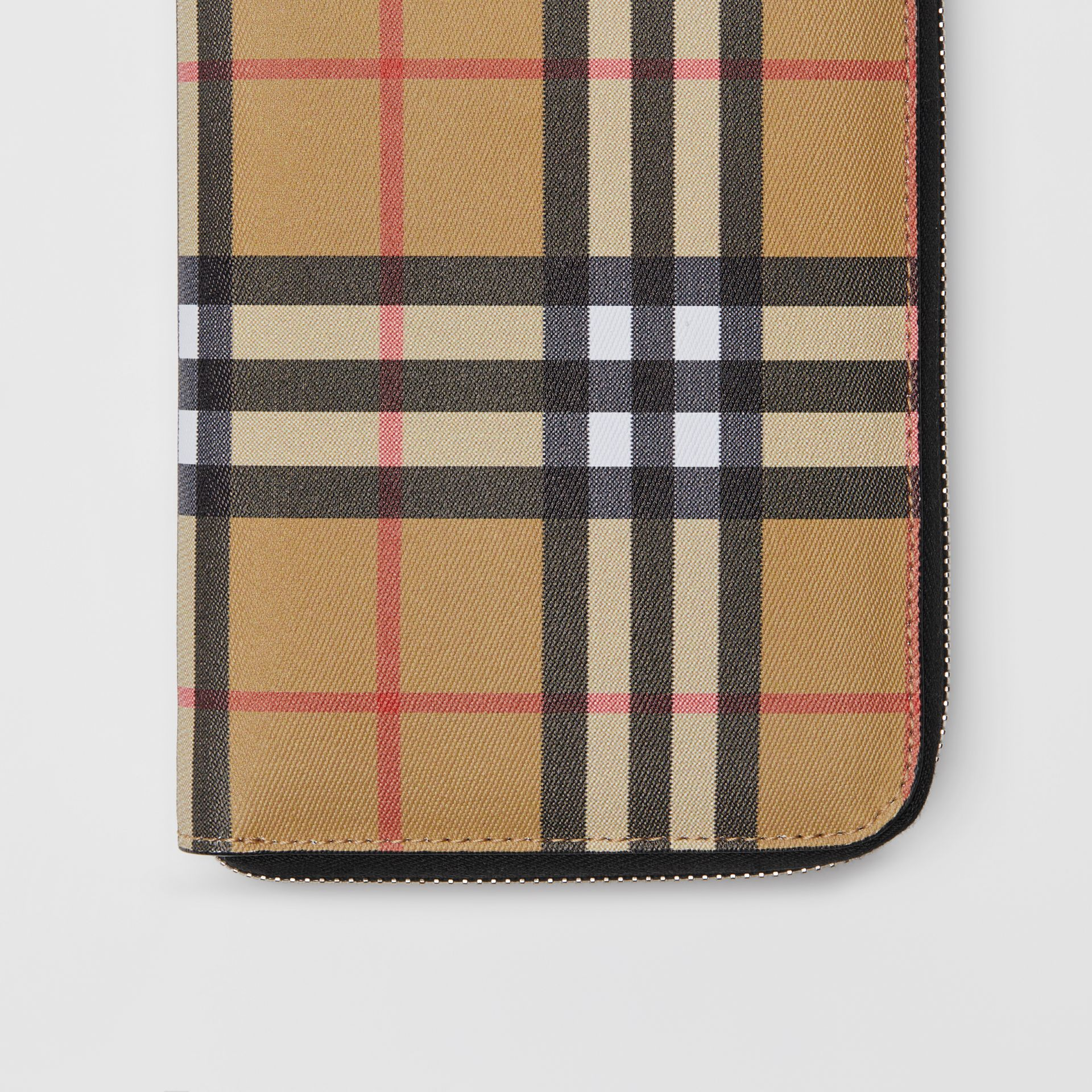 Vintage Check and Leather Ziparound Wallet in Antique Yellow/black - Men | Burberry Australia - gallery image 1