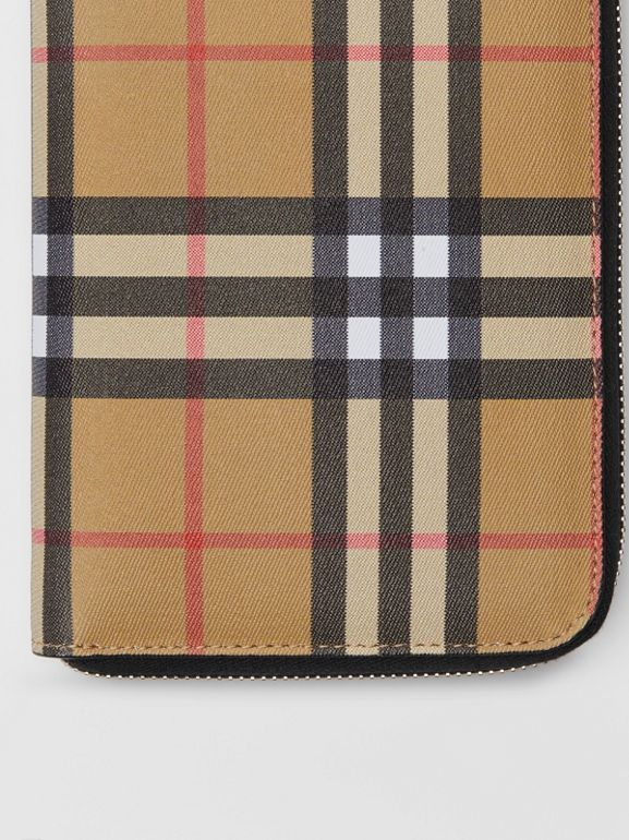 Vintage Check and Leather Ziparound Wallet in Antique Yellow/black - Men | Burberry - cell image 1