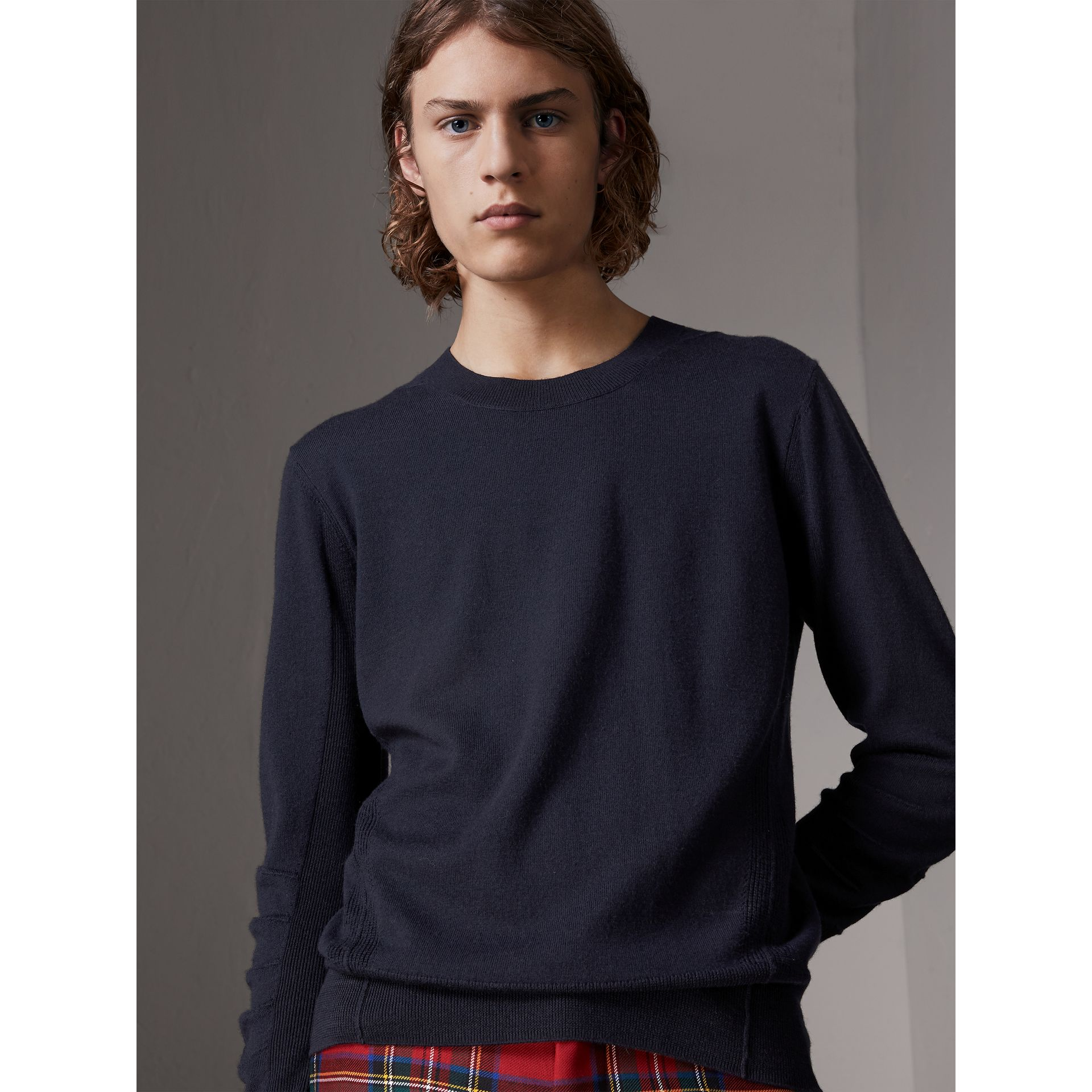 Check Detail Merino Wool Sweater in Navy - Men | Burberry Australia - gallery image 0