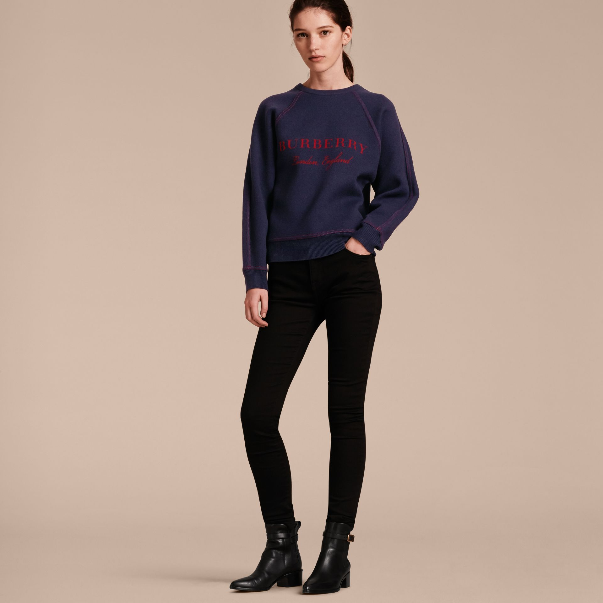 Topstitch Detail Wool Cashmere Blend Sweater in Navy - Women | Burberry - gallery image 6