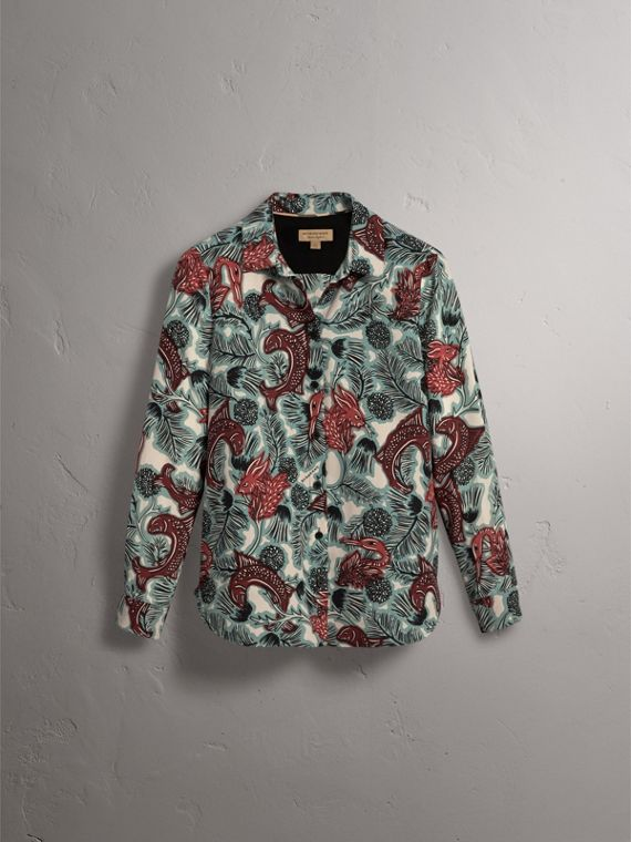 Beasts Print Silk Shirt in Pale Celadon - Women | Burberry - cell image 3