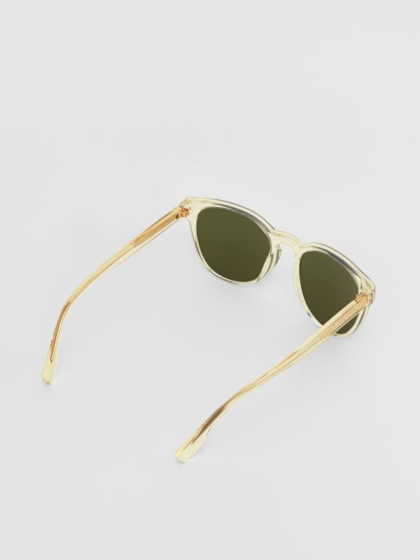 Round Frame Sunglasses in Pale Yellow - Men | Burberry Australia - cell image 3