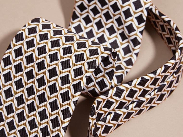 Olive green Modern Cut Geometric Print Silk Tie Olive Green - cell image 1