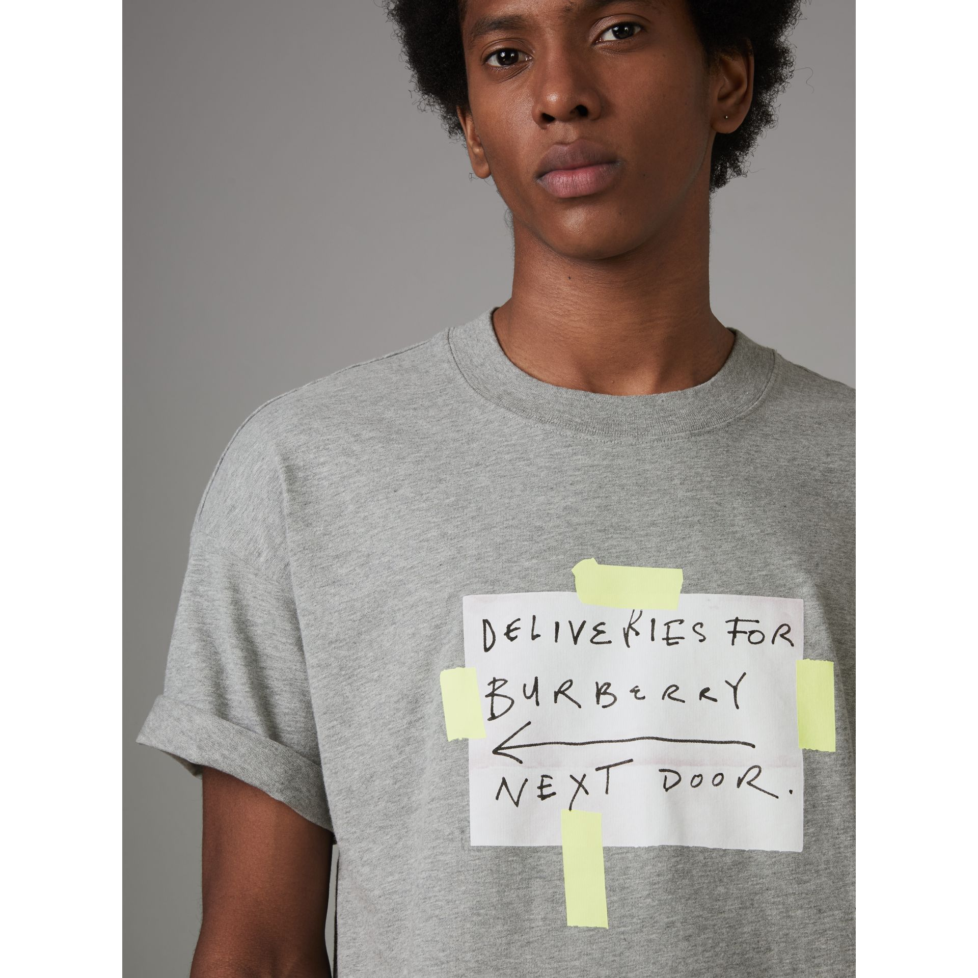 Sign Print Cotton T-shirt in Pale Grey Melange - Men | Burberry United Kingdom - gallery image 1