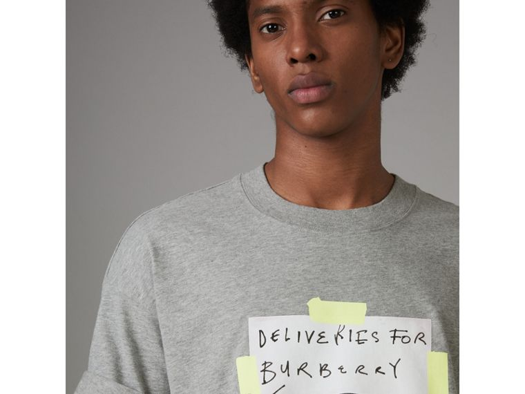 Sign Print Cotton T-shirt in Pale Grey Melange - Men | Burberry - cell image 1