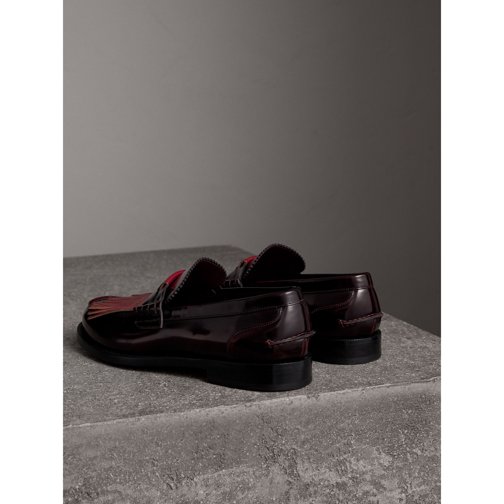 Contrast Kiltie Fringe Leather Loafers in Rust Red/red Claret - Men | Burberry United Kingdom - gallery image 3