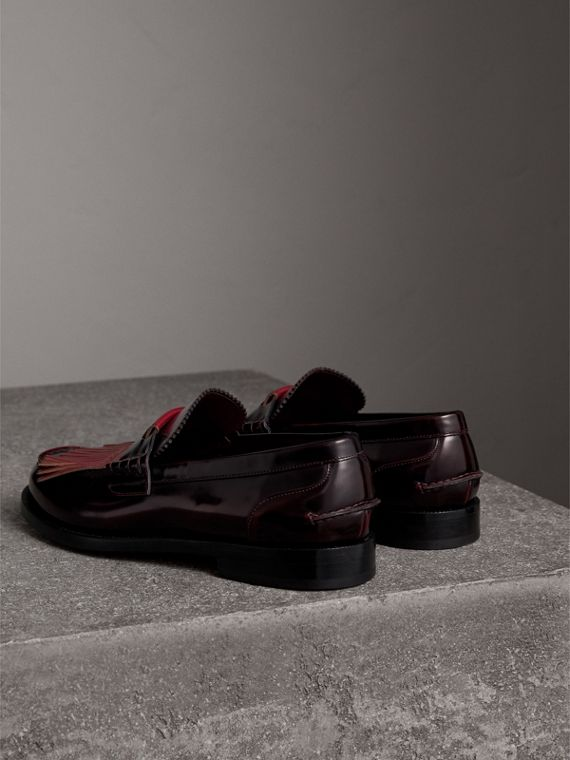 Contrast Kiltie Fringe Leather Loafers in Rust Red/red Claret - Men | Burberry Australia - cell image 3