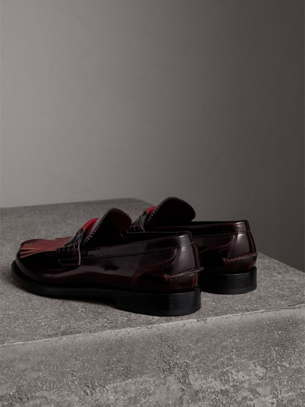 Contrast Kiltie Fringe Leather Loafers in Rust Red/red Claret - Men | Burberry - cell image 3
