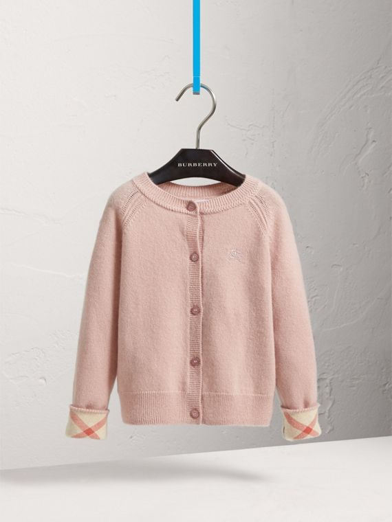 Check Cuff Cashmere Cardigan in Dusty Pink - Girl | Burberry - cell image 2