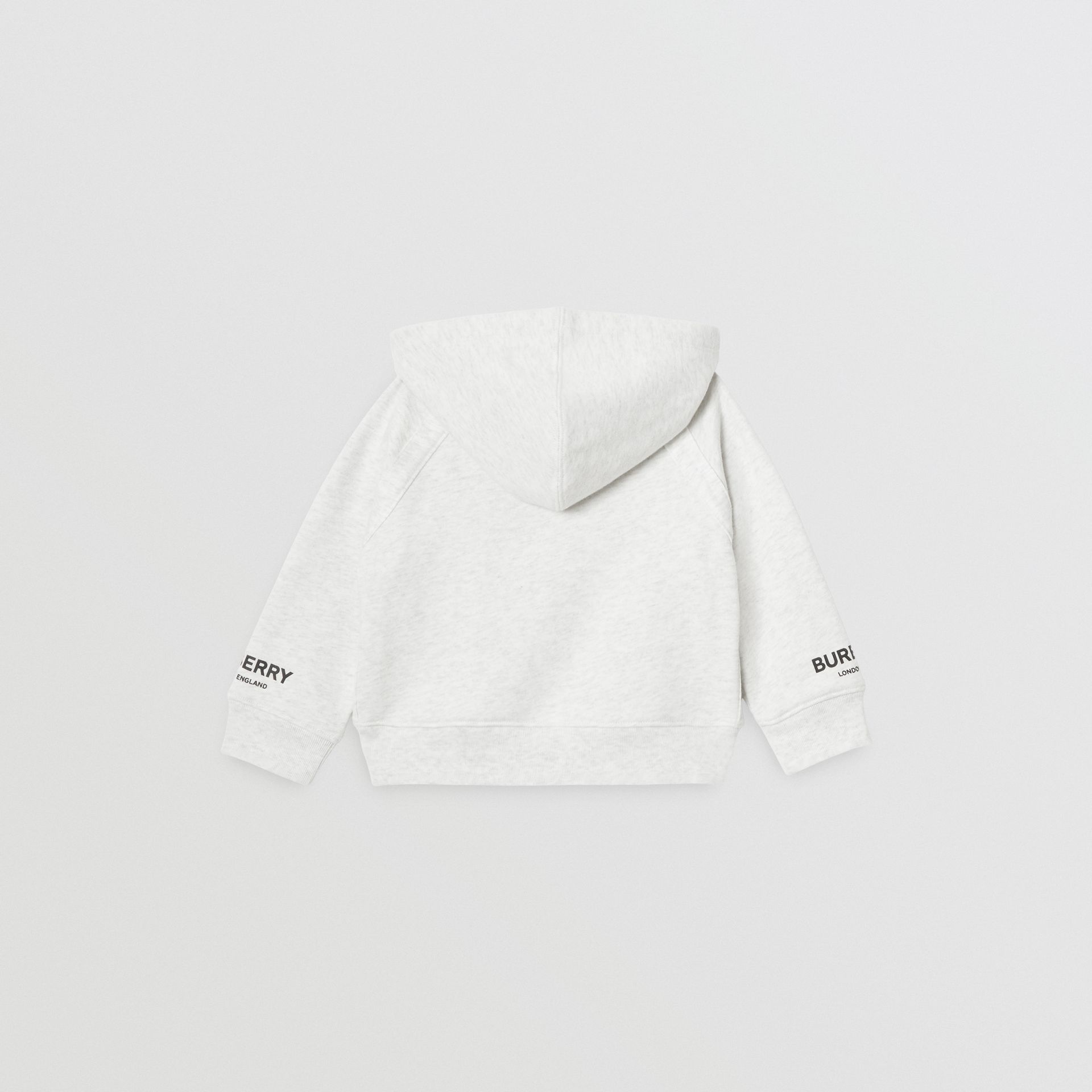 Logo Print Cotton Hooded Top in White Melange - Children | Burberry - gallery image 3
