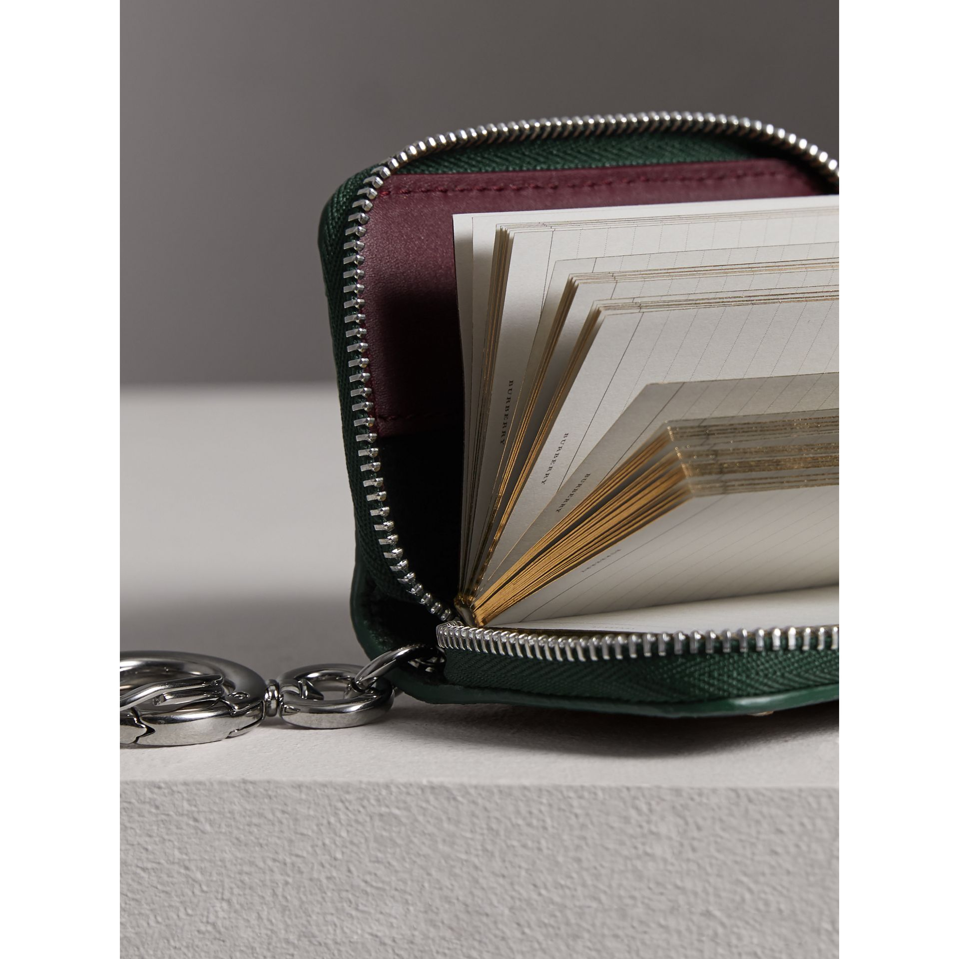 Creature Appliqué Leather Notebook Charm in Racing Green | Burberry - gallery image 1