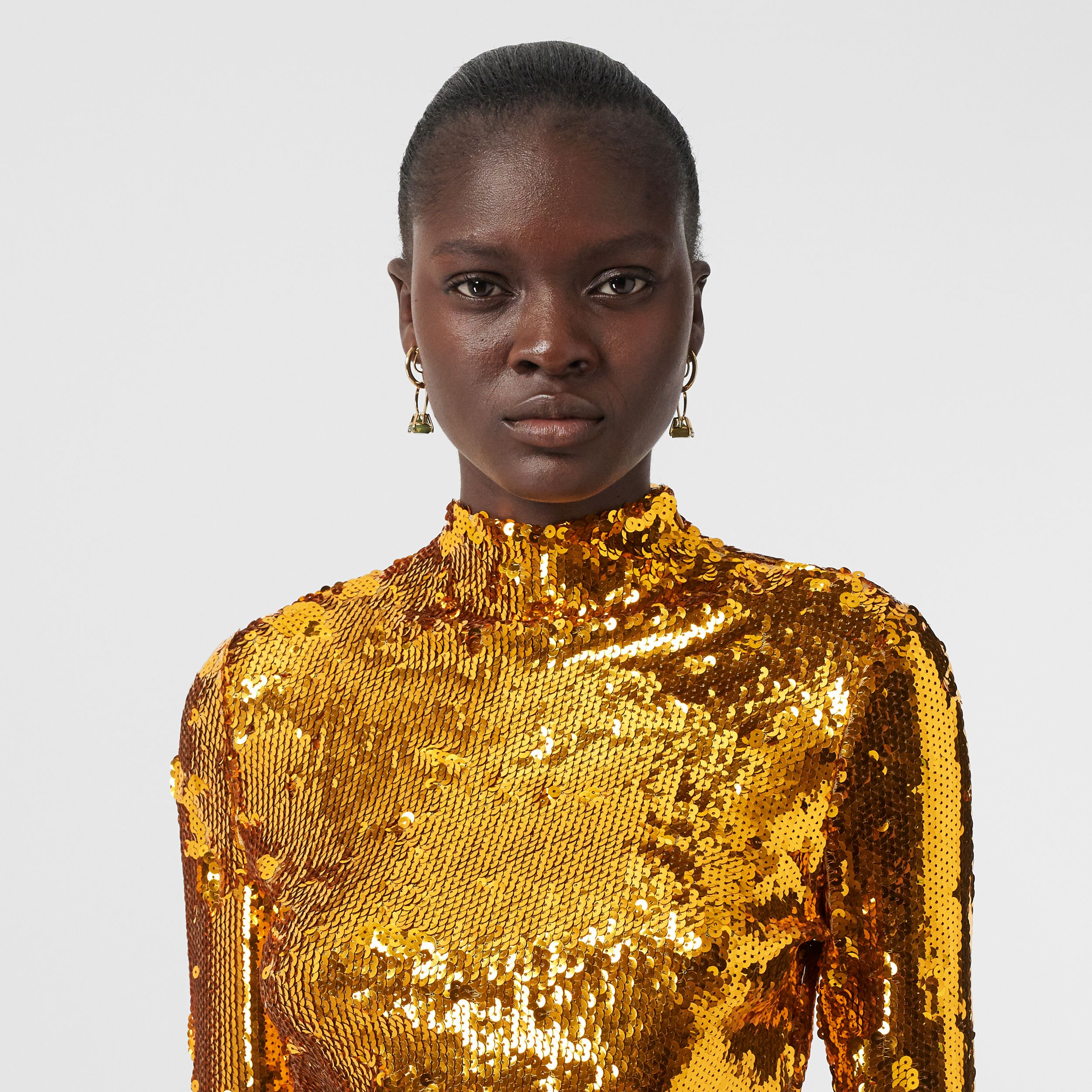 Sequinned Turtleneck Top in Gold - Women | Burberry - 2