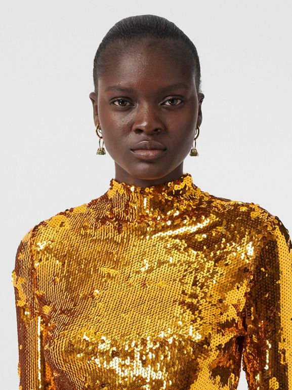 Sequinned Turtleneck Top in Gold - Women | Burberry United States - cell image 1