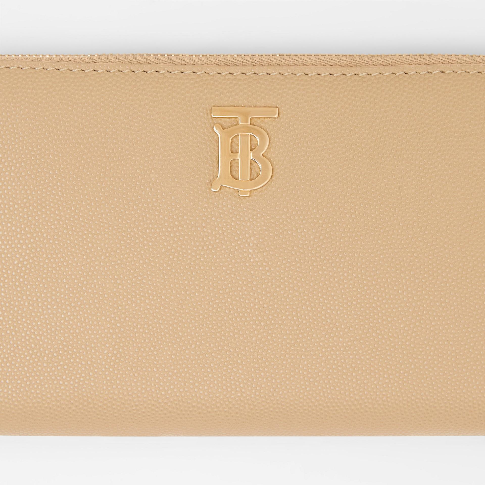 Monogram Motif Grainy Leather Ziparound Wallet in Archive Beige - Women | Burberry United Kingdom - gallery image 1