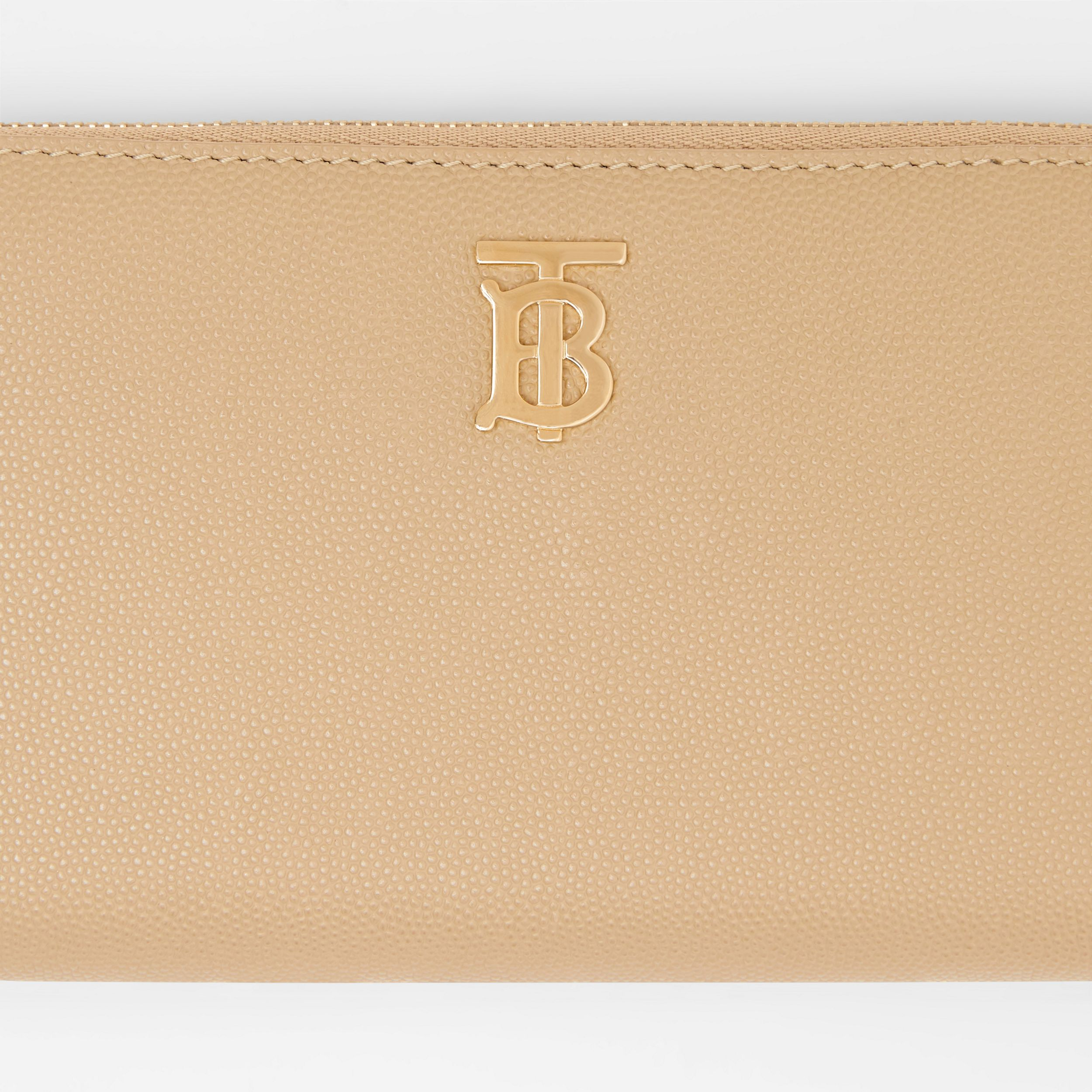 Monogram Motif Grainy Leather Ziparound Wallet in Archive Beige - Women | Burberry - 2